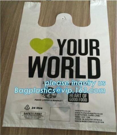 Custom Printed Biodegradable Compost Bags Pharmacy Singlet Handle En13432 Certified