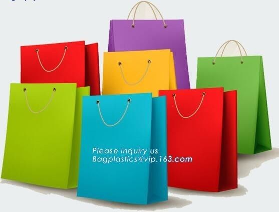 Eco Retail Packaging , Shopping Paper Gift Bag Luxury Clothes Paper Carrier