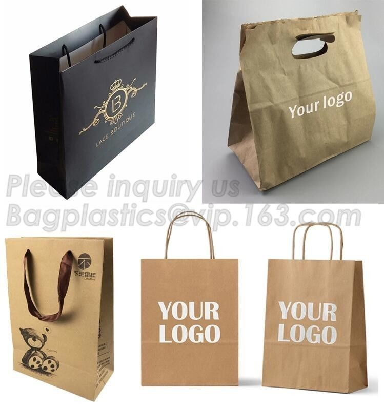 Kraft Paper Shopping Bag With Ribbon Handles , Bowknot Shopping Bag