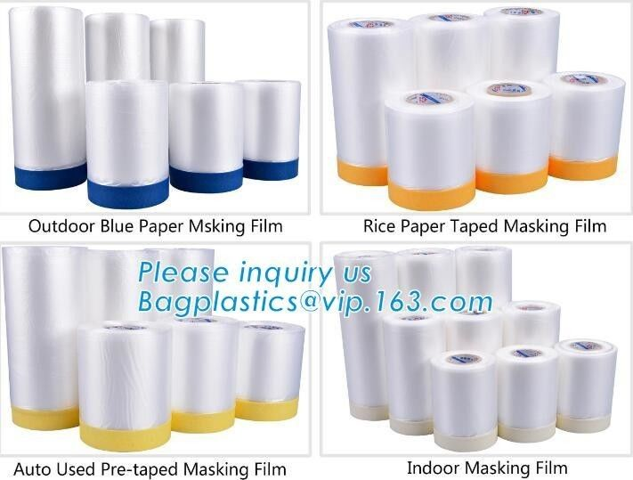 Outdoor Paper Masking Film / Rice Paper Taped Masking Film Auto Pre Taped