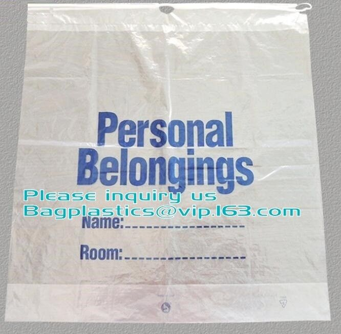 Dissolvable Laundry Bags Drawstring Patient Belongings Bag With Rigid Handle
