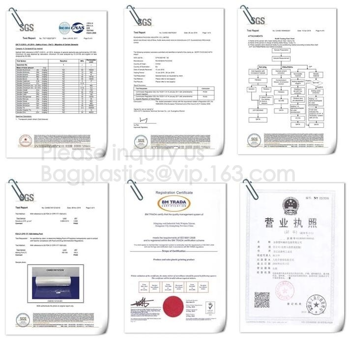 China YANTAI BAGEASE PACKAGING PRODUCTS CO.,LTD. Certificações